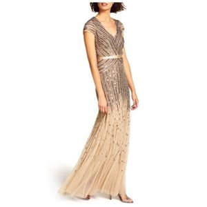 Adrianna Papell Cap sleeve v-neck beaded nude gown